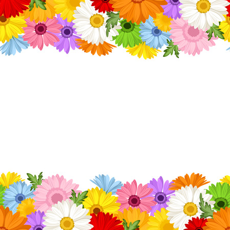 Horizontal seamless background with gerbera flowers  Vector illustration