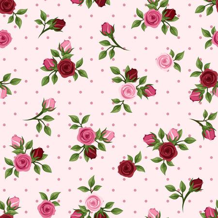 빨간색과 분홍색 장미 벡터 일러스트 레이 션 빈티지 원활한 패턴