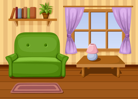 living room window: Living room  Vector illustration