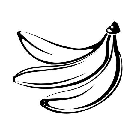 흰색 벡터 일러스트 레이 션에 고립 된 바나나의 검은 실루엣
