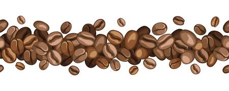 コーヒー豆のベクトル図の水平方向のシームレスな背景  イラスト・ベクター素材