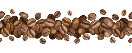 coffee harvest: Horizontal seamless background with coffee beans  Vector illustration