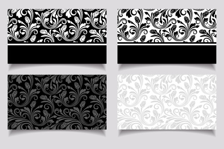 Business cards with floral patterns  Vector EPS-10
