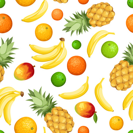 Seamless background with tropical fruits  Vector illustration