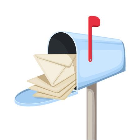 Ouvrir la boîte aux lettres bleu avec des lettres