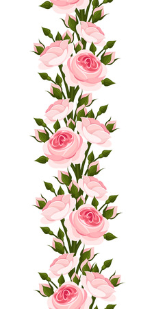 rose bush: Seamless vertical border with pink roses
