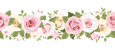 pink bushes: Horizontal seamless background with pink roses
