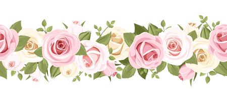 Horizontale naadloze achtergrond met roze rozen Stock Illustratie