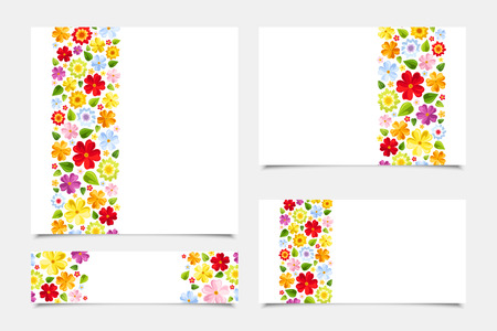 Greeting cards with floral patterns  Vector