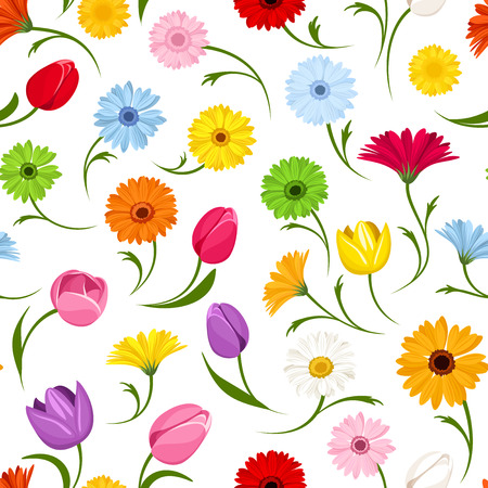 orange gerbera: Seamless pattern with flowers  Vector illustration