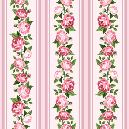 Vintage seamless stripped pattern with pink roses