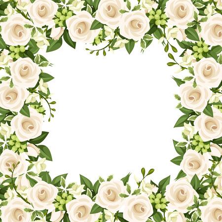 Sfondo vettoriale con rose bianche e fiori di fresia