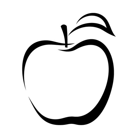 black and white: Apple  Vector black contour  Illustration