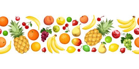 white grape: Horizontal seamless background with fruits