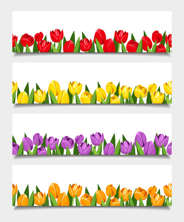 banners with tulip flowers  Vector