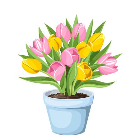 チューリップの花ポット  イラスト・ベクター素材