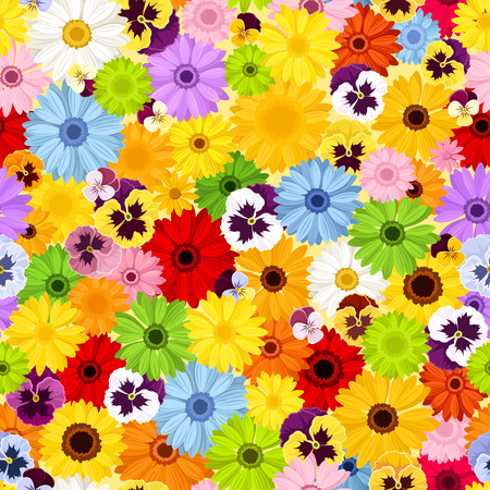 pansies: Seamless pattern with colorful flowers