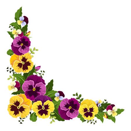 Angolo sfondo con fiori viola del pensiero