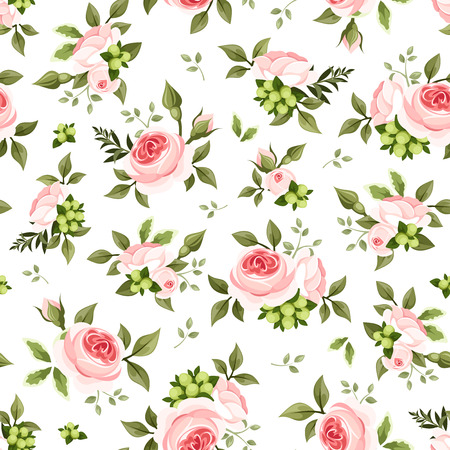old english: Seamless pattern with pink roses and green leaves