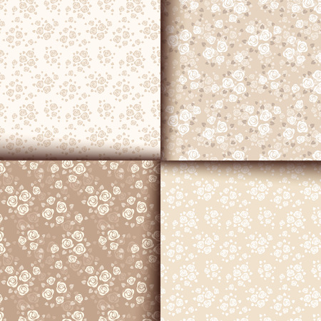 ivory: Set of four seamless patterns with roses  Illustration