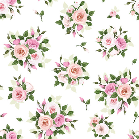 english rose: Seamless pattern with roses and lisianthus flowers  Vector illustration  Illustration