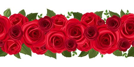 赤いバラのベクトル図の水平方向のシームレスな背景