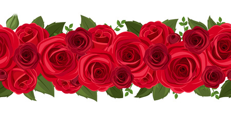 Horizontal seamless background with red roses  Vector illustration  Çizim