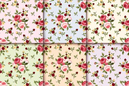 tea rose: Set of vintage seamless patterns with roses  Vector  Illustration