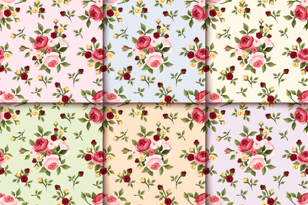 Set of vintage seamless patterns with roses  Vector  Illustration