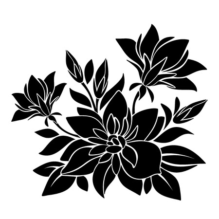 beautiful flower: Black silhouette of flowers  Vector illustration  Illustration