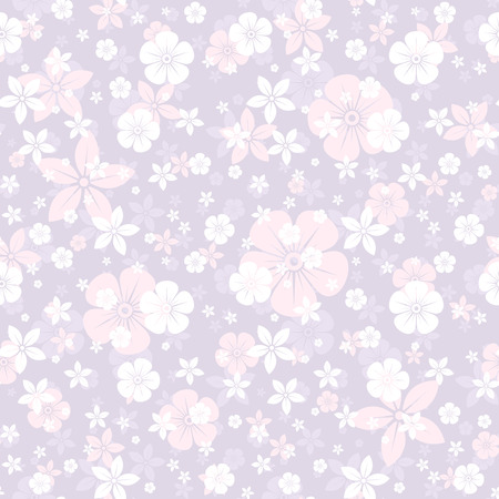 bedclothes: Vector seamless pattern with white and pink flowers on purple
