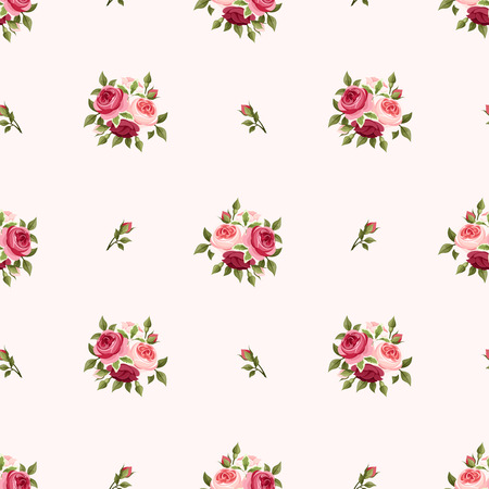 english rose: Seamless pattern with red and pink roses  Vector illustration