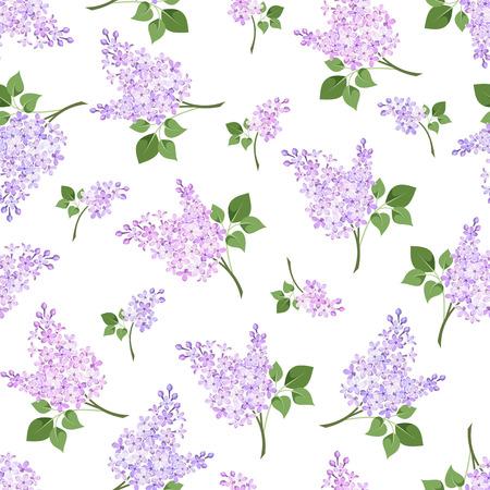 ライラック色の花のベクトル図とのシームレスなパターン  イラスト・ベクター素材