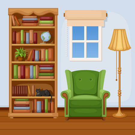 living room window: Room interior with bookcase and armchair  Vector illustration