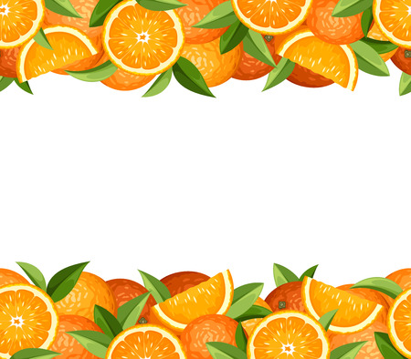 Horizontal seamless frame with oranges Vector illustration
