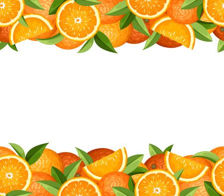 Horizontal seamless frame with oranges  Vector illustration  Illustration