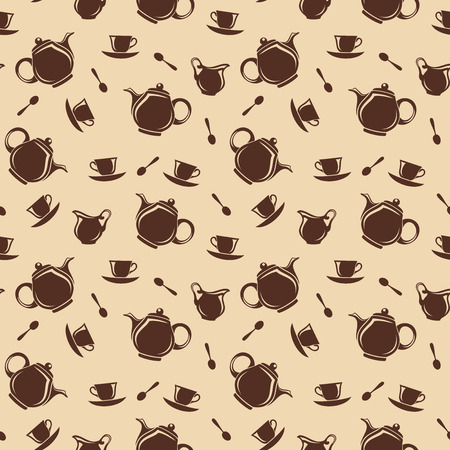 Seamless background with teapots and cups  Vector illustration  Vector