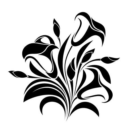 white lily: Abstract flowers  Vector black silhouette  Illustration