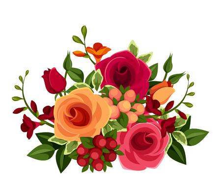 Blumenstrauß aus Rosen und Freesien Blumen Vektor-Illustration Standard-Bild - 28904715