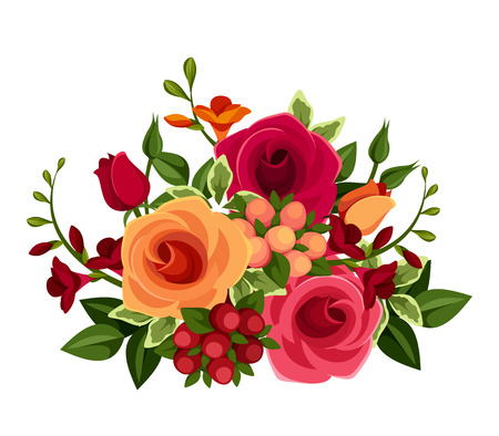 Bouquet of roses and freesia flowers  Vector illustration  Ilustrace