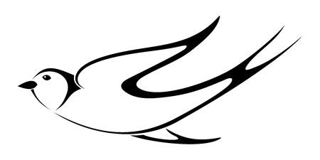 songbird: Black silhouette of swallow  Vector illustration