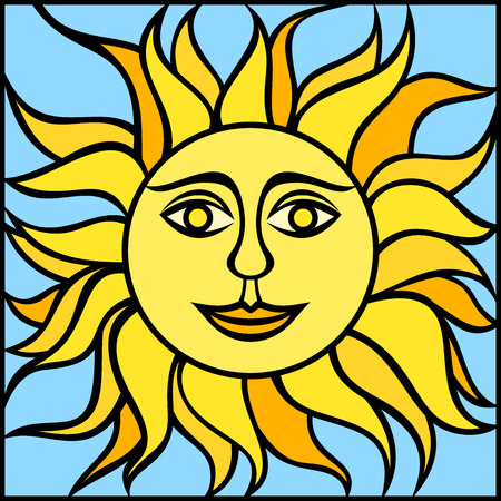 Illustration of sun with smiling face  Vector illustration