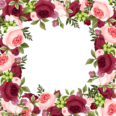 Vector background with red and pink roses  Illustration
