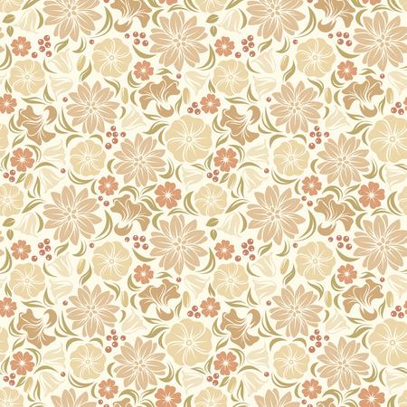 beige backgrounds: Beige seamless floral pattern  Vector illustration  Illustration