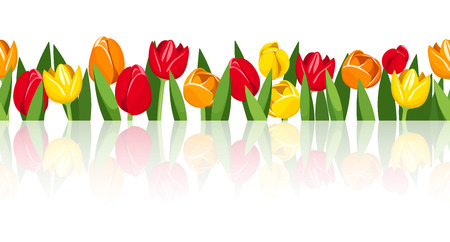 Horizontal seamless background with colorful tulips  Vector eps-10  Vector