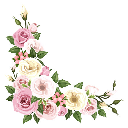 english: Roses and lisianthus flowers  Vector corner background