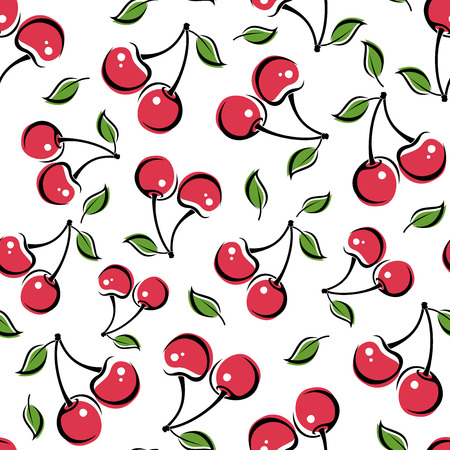 Seamless background with cherry  Vector illustration