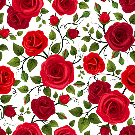Seamless pattern with red roses  Vector illustration