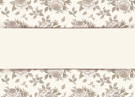 ivory: Vintage invitation card with roses  Vector illustration