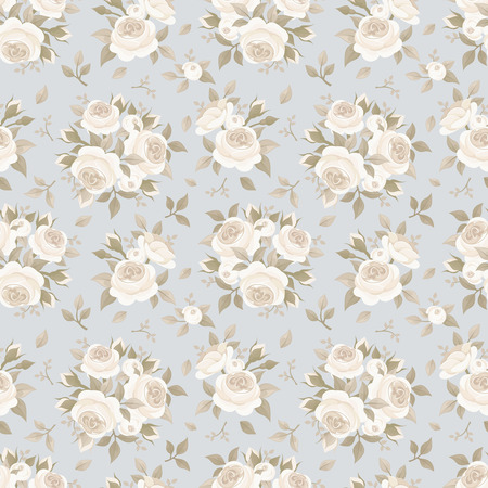 english rose: Seamless pattern with roses on blue  Vector illustration